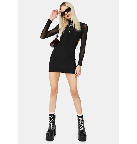 Fierce Bestie Long Sleeve Mesh Open Back Bodycon Dress