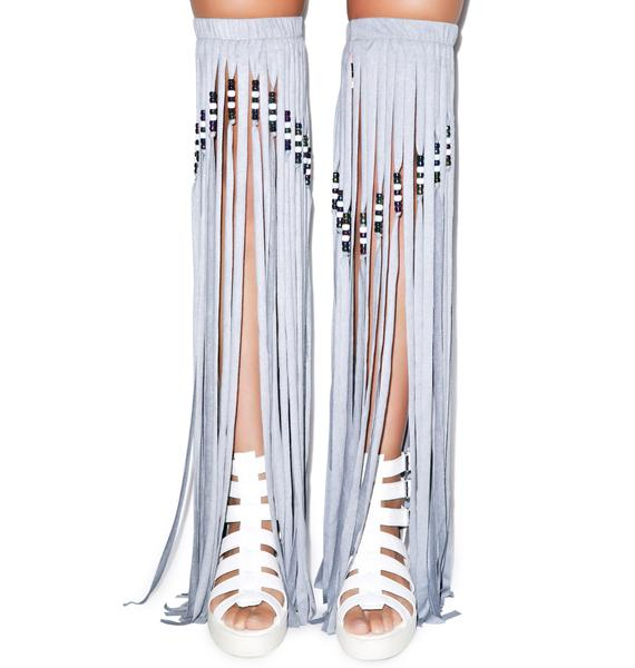 J Valentine Night Wolf Beaded Fringe Leggings