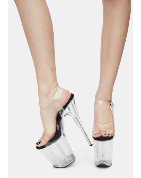Pause For Applause Clear Platform Heels