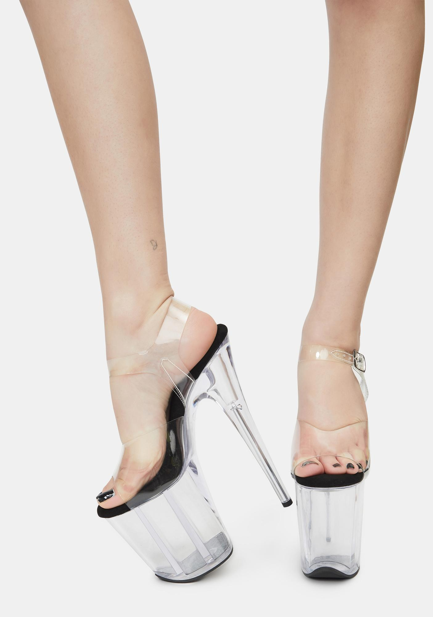 Pleaser Pause For Applause Clear Platform Heels