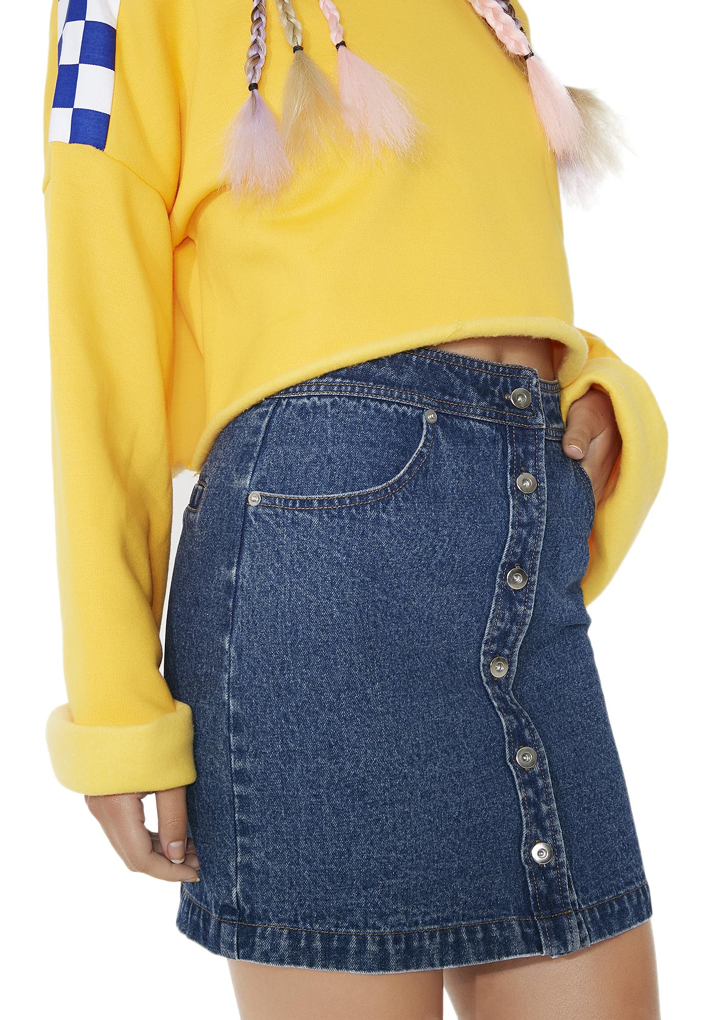 Denim Snap Mini Skirt