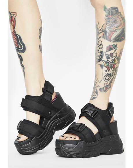 Black Peach Platform Sandals