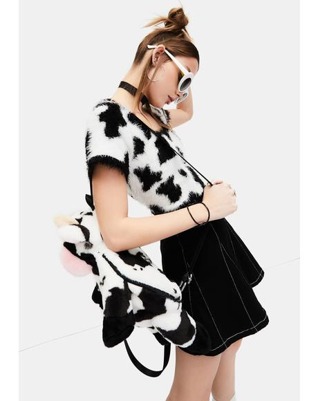 Cow Chic Fuzzy Sweater