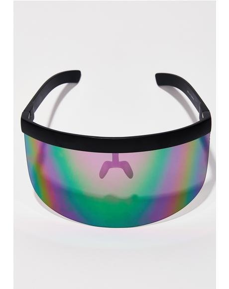 Rainbow Shock Waves Shield Sunglasses
