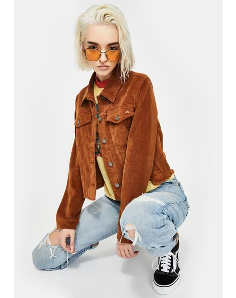 Gold Corduroy Crop Jacket