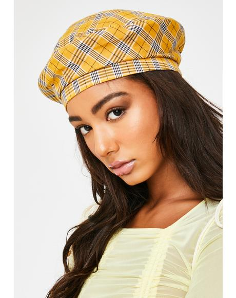 Honey On Par Plaid Beret