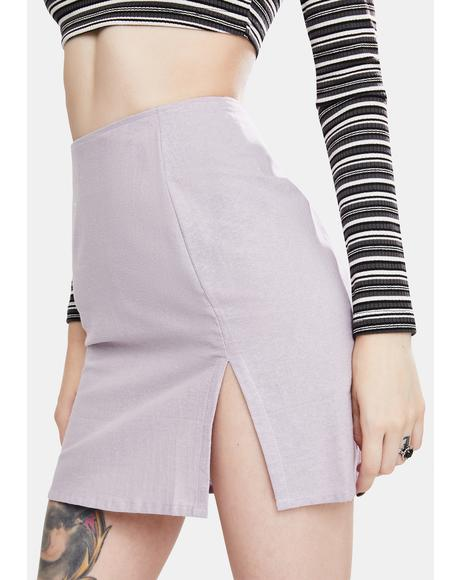 Light Purple Sheny Mini Skirt