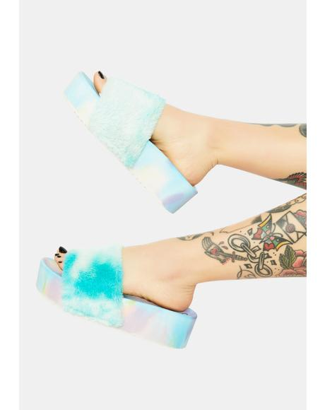 Teal Grocery Glamour Fur Slides