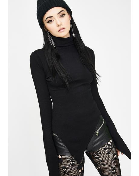 High Collar Irregular Hem Pullover Sweater