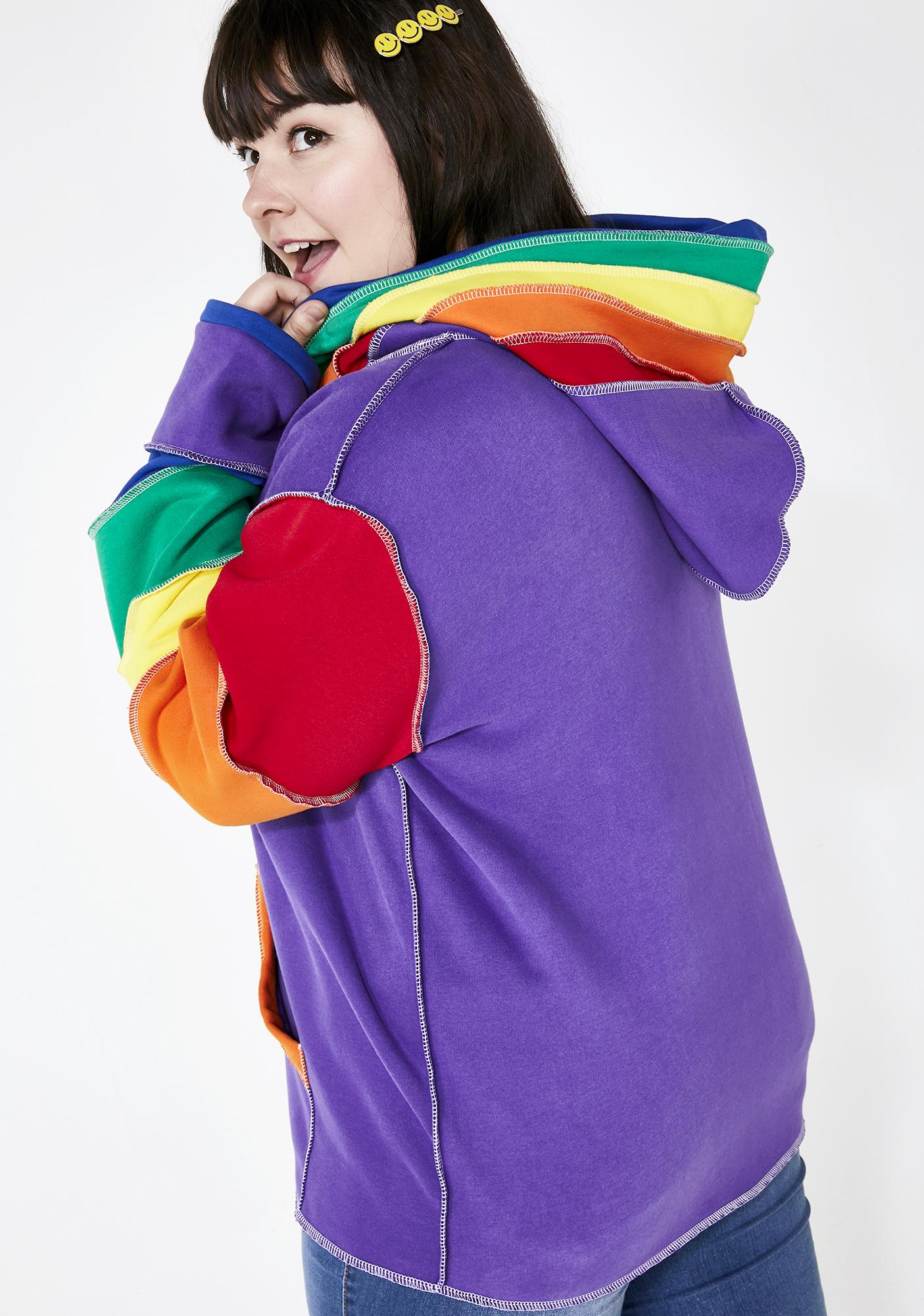 dELiA*s by Dolls Kill Babe In Living Color Rainbow Hoodie