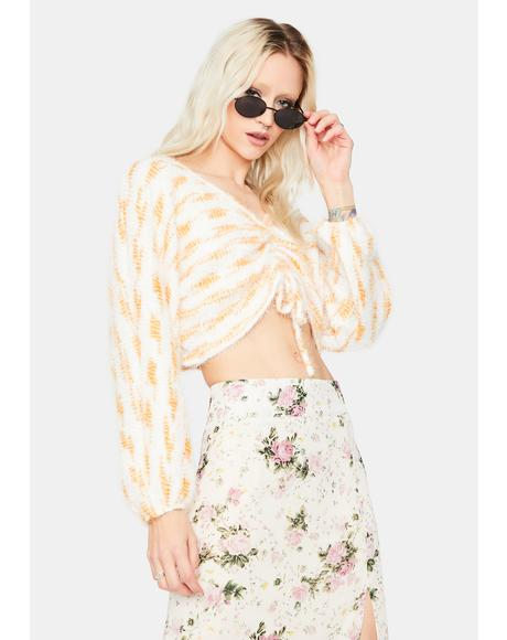 Like Sunlight Ruched Fuzzy Sweater