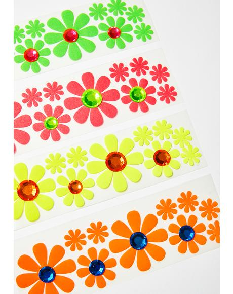 Blacklight Daisy Body Stickers