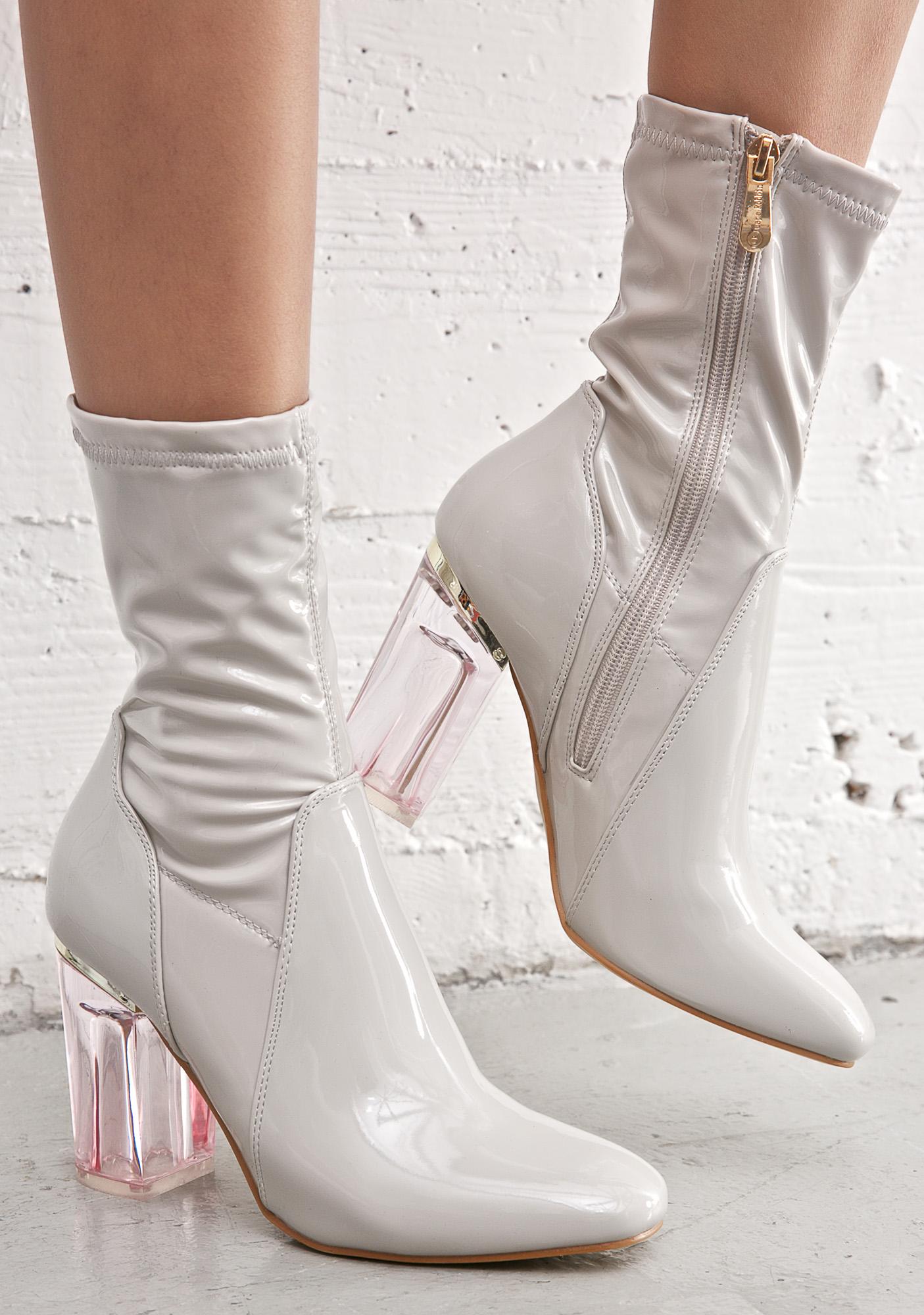 Grey Clear Heel Boot