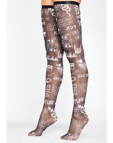 Mind Ur Own Thigh High Socks