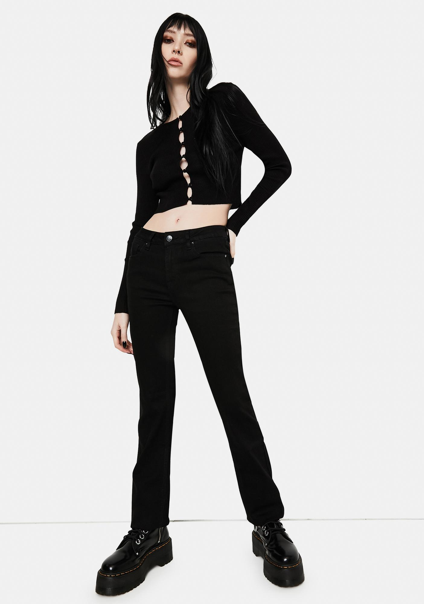 VIGOSS Black Marley Midrise Crop Boot Cut Jeans