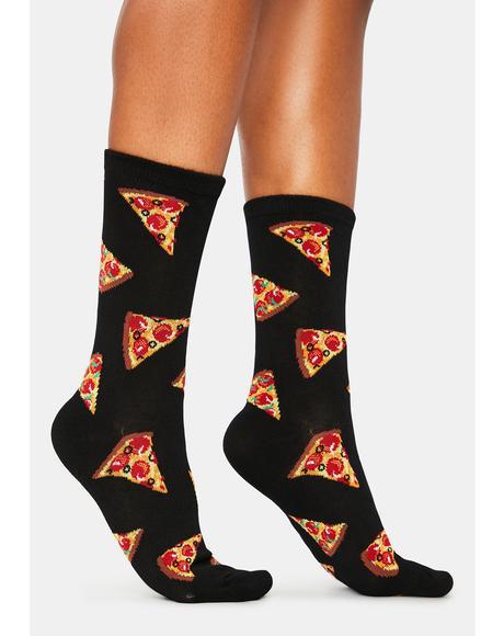 Black Pizza Slice Crew Socks
