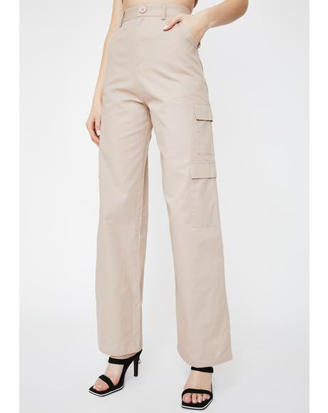 Cargo Pocket Wide Leg Pants