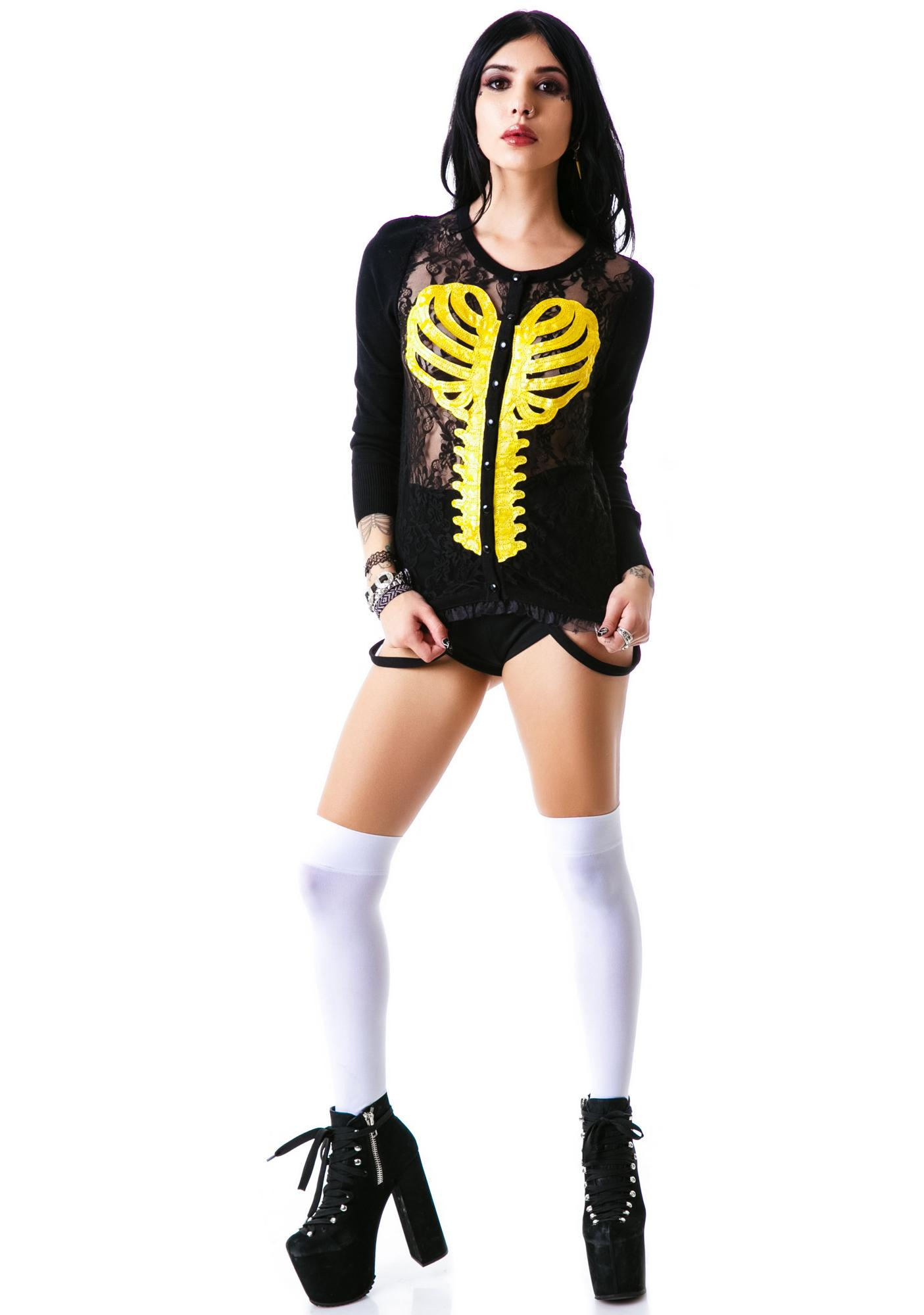 Too Fast Heart Ribcage Lace Front Cardigan