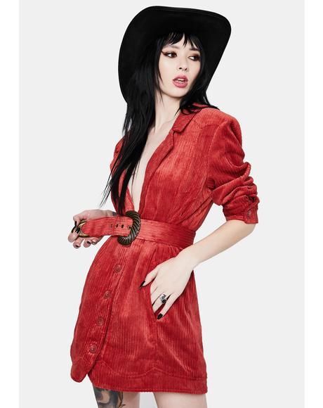 Red Corduroy Carson Blazer Dress
