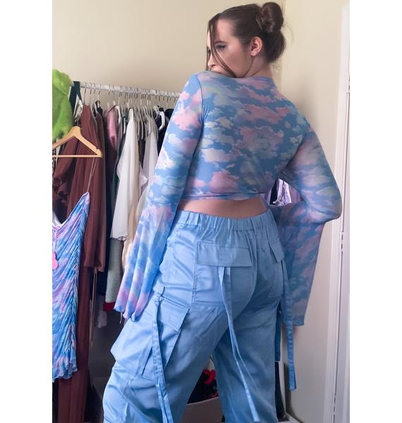 Sugar Thrillz Sky Totally Candy Crushed Cargo Pants