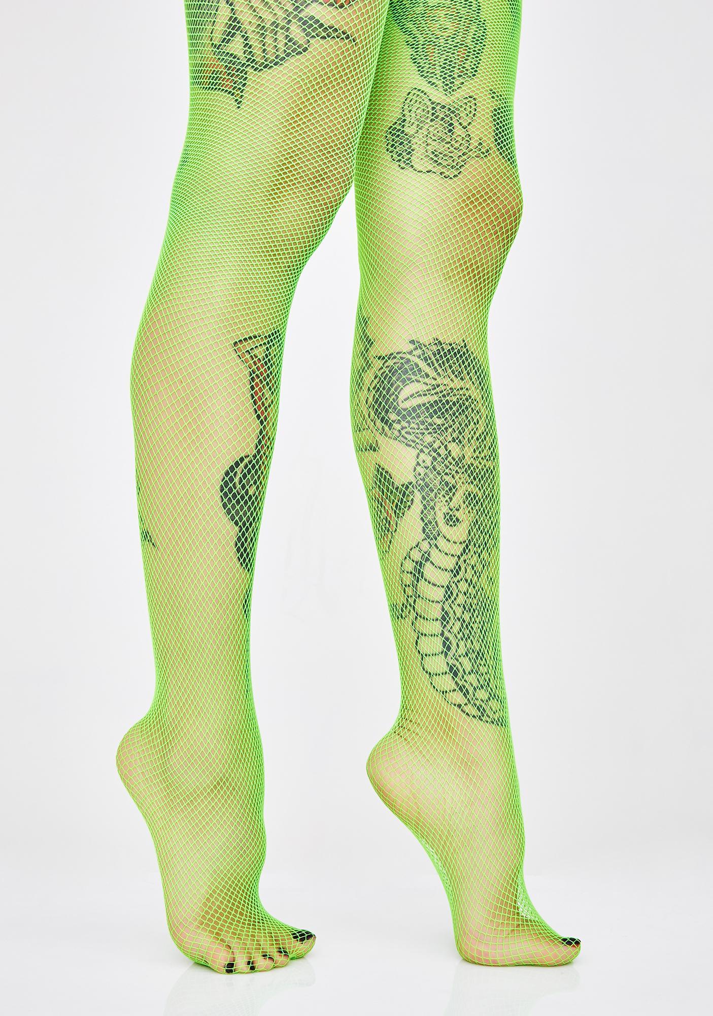 Slime Neon Angel Fishnet Tights