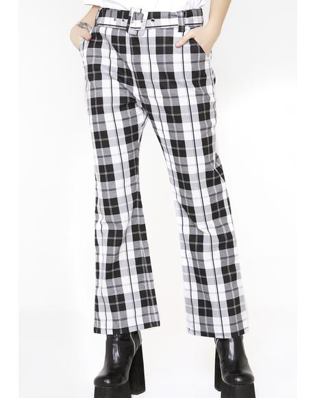 Black N' White Check Kick Flare Trousers