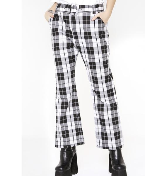 Lazy Oaf Black N' White Check Kick Flare Trousers