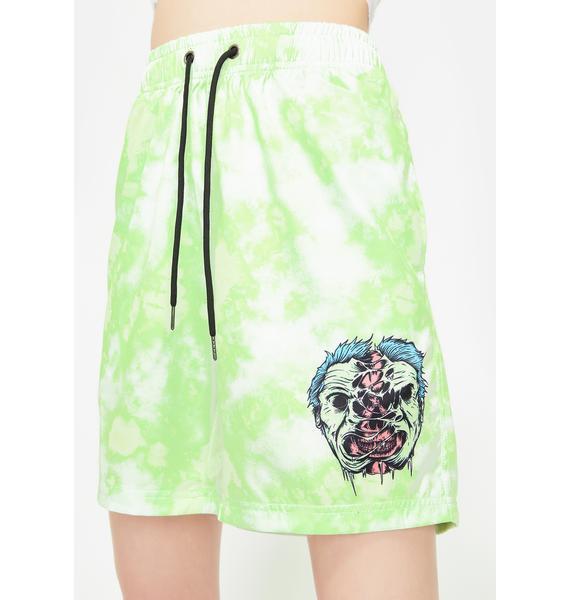 BROKEN PROMISES CO Hazardous Tie Dye Shorts