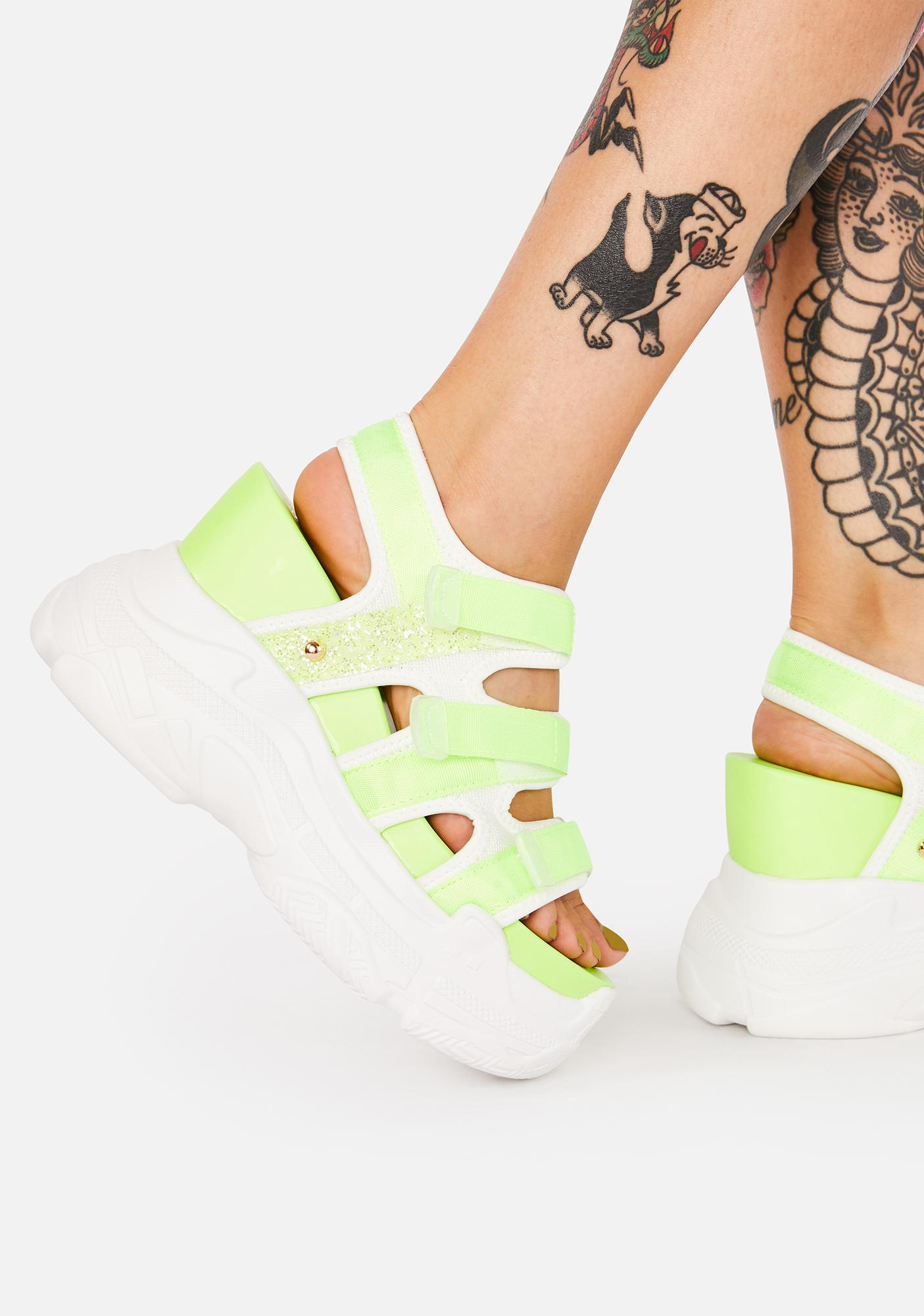Yellow Prism Paradise Wedge Sandals