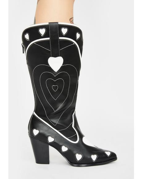 White Heart Space Cowgirl Boots