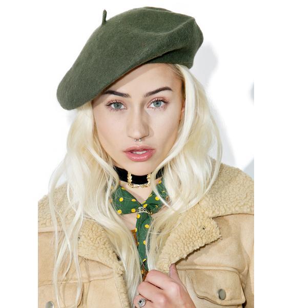 Olive Mademoiselle Beret