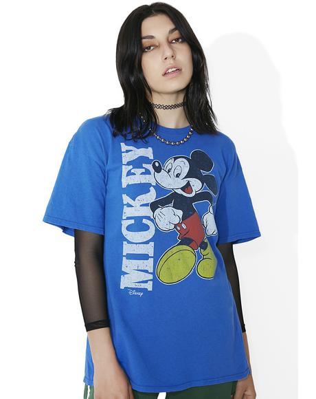 Blue Retro Mickey Tee