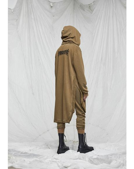 Synth Unisex Washed Olive Long Zip-Up Hoodie
