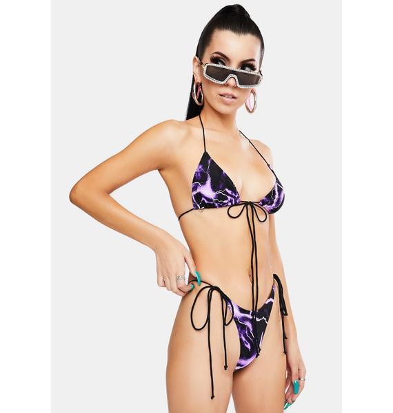 Jaded London Purple Lightning Print Triangle Bikini Top