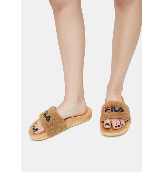Fila Cream Fuzzy Slides