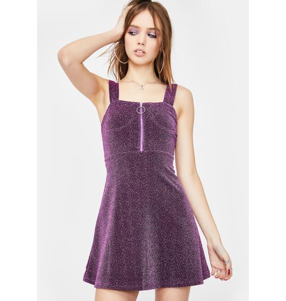 ZEMETA Deep Violet Sparkly Dress