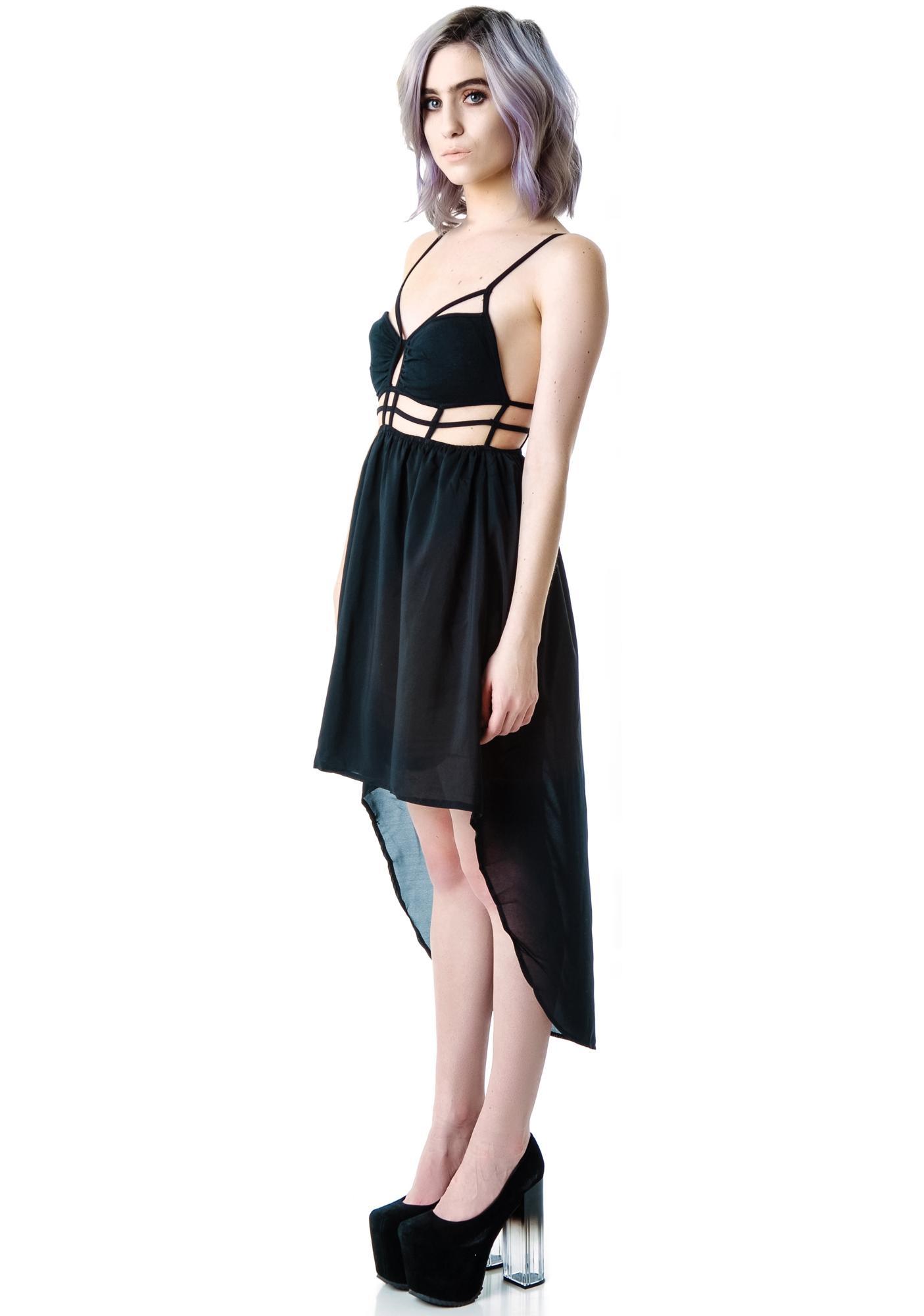 Gride Line Cut Out Dress