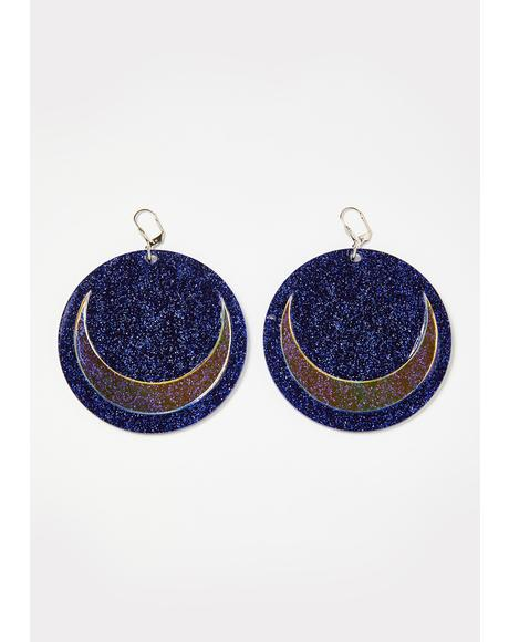 Holographic Glitter Moon Earrings