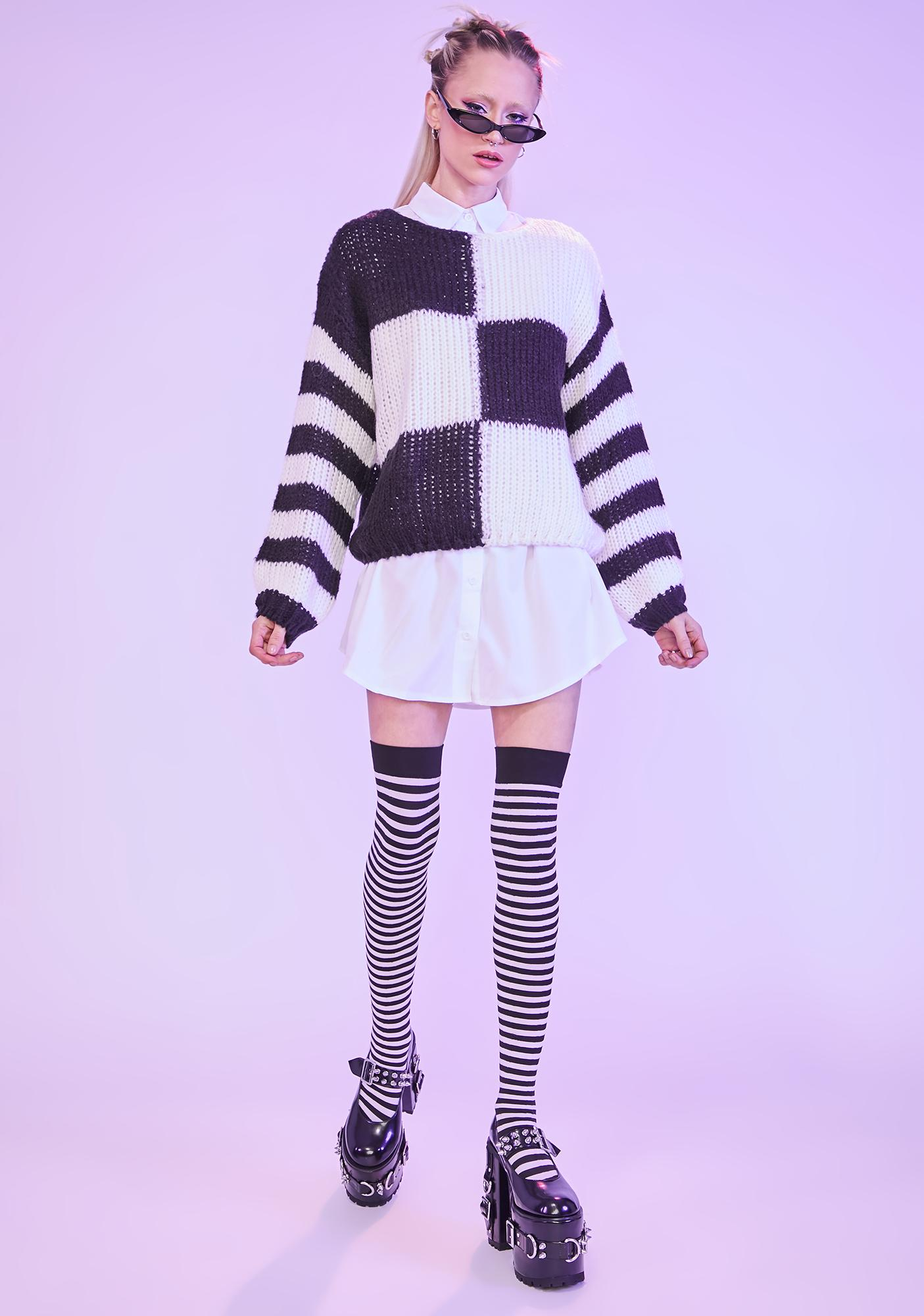 Larger Than Life Colorblock Knit Sweater