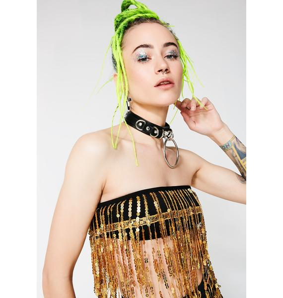 Jaded London Gold Sequin Fringe Crop Top