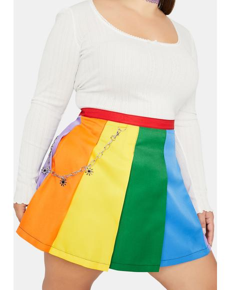 Honey All Is Bright Rainbow Pleated Mini Skirt