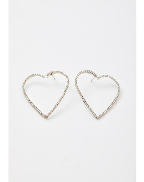 Fragile Heart Rhinestone Earrings