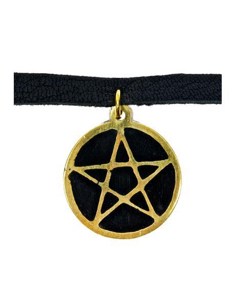 Black Leather Pentagram Choker