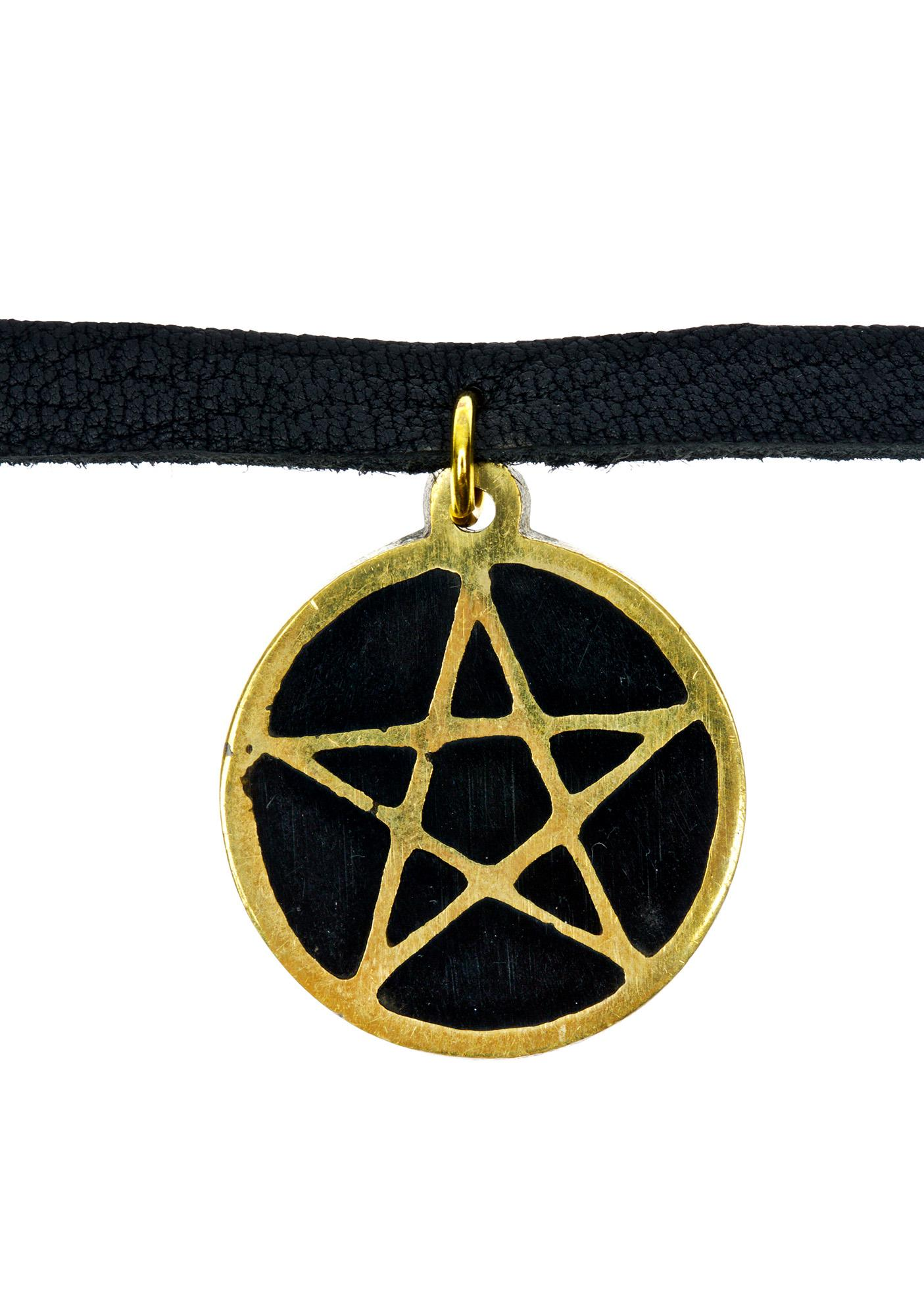 Vanessa Mooney Black Leather Pentagram Choker