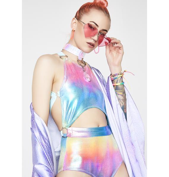 Seagypsy Couture Rainbow Prism Half Moon Halter Top