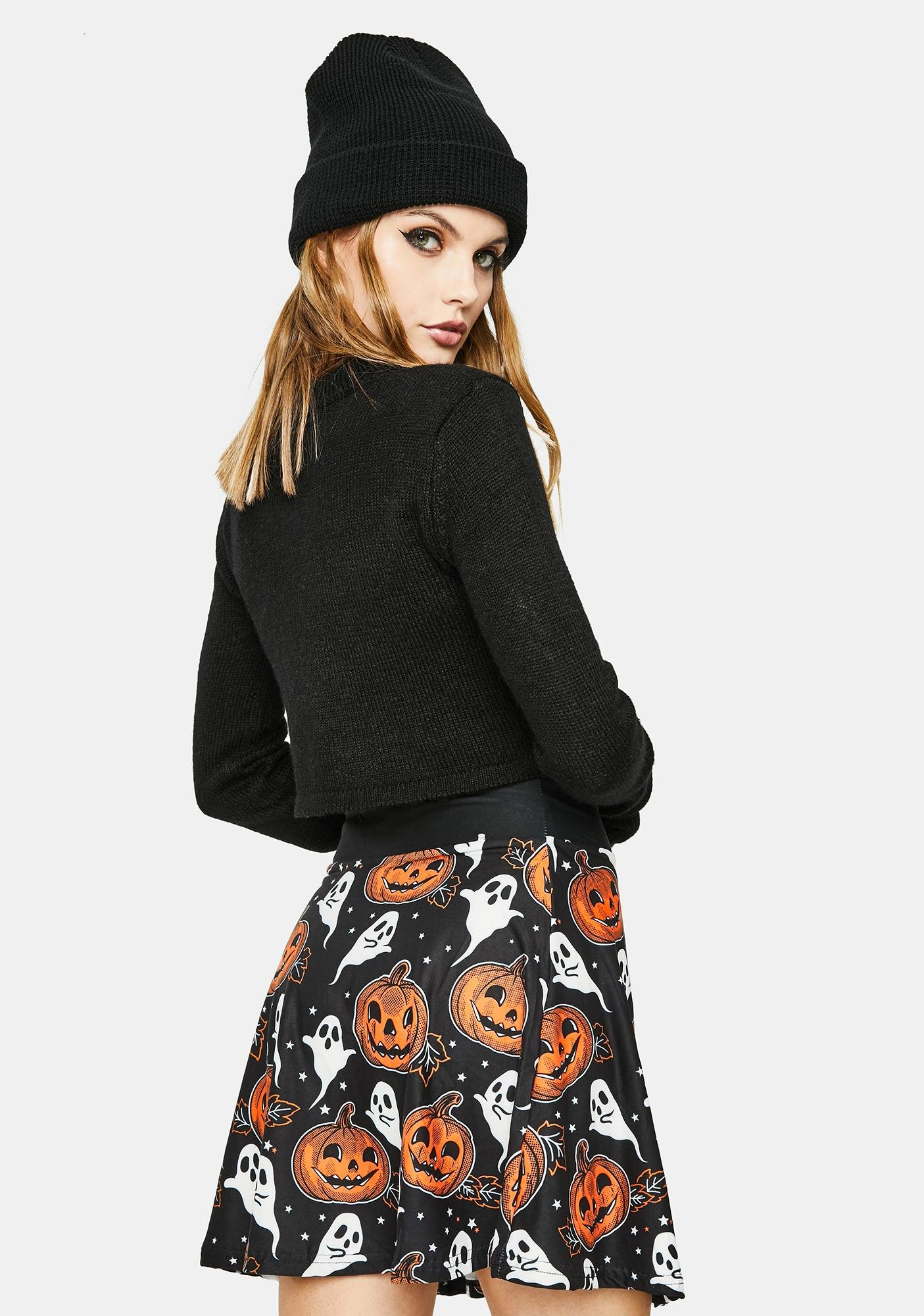 Too Fast Pumpkin And Ghosty Skater Skirt