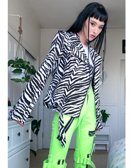 Zebra Wild Child Moto Jacket