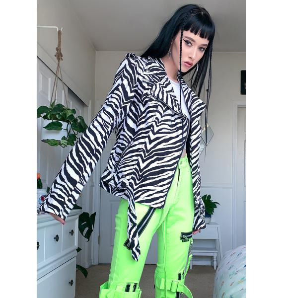 Tripp NYC Zebra Wild Child Moto Jacket