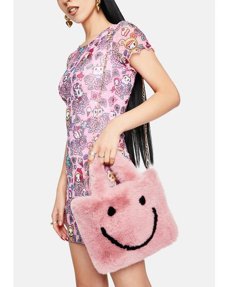 Pink Smiley Face Faux Fur Bag
