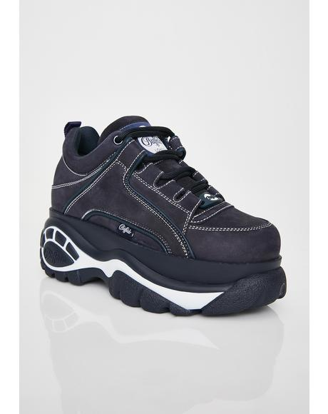 Navy Classic Low Leather Sneakers